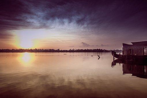 日出, 喀拉拉邦, 亚洲, 船坞举办, 自然, 景观, 印度, 旅行, 上午