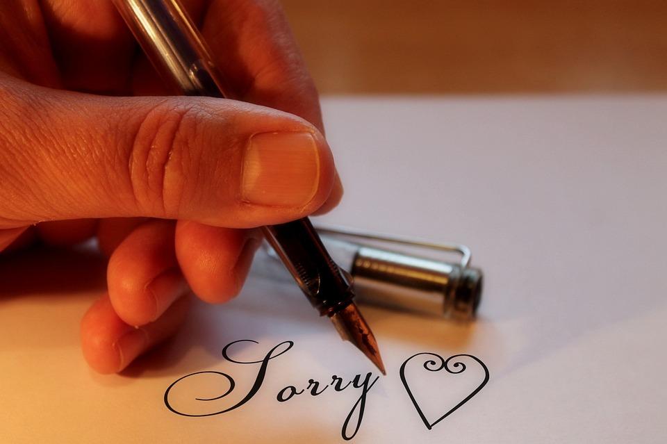愛, 心, 申し訳ありませんが, すみません, ごめんなさい, 手, フィラー, 書きます, 指文字, 紙