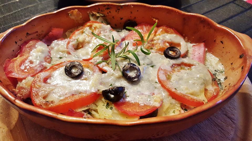 Mangiare, Formaggio, Cavolo Rapa, Pomodori, Al Gratin