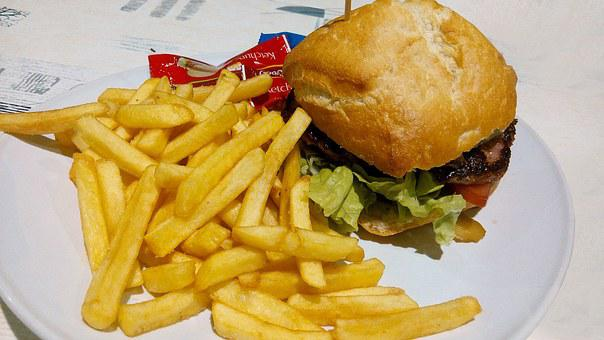 Burger, Food, French Fries, Potato Chips