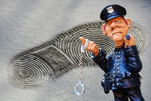 警察, 犯罪のシーン, フット プリント, ディスカバリー, 手錠, 逮捕