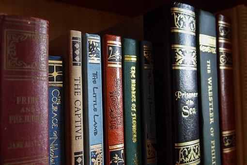 Classic books in a bookcase