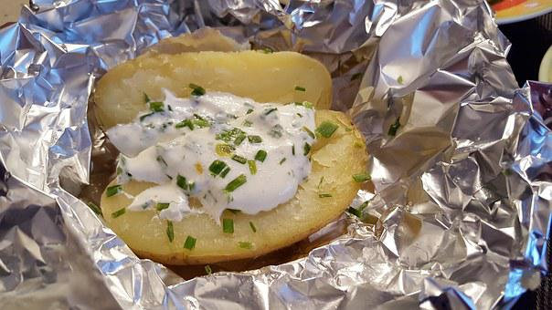 Baked Potatoes Potato Dish Aluminum Foil F