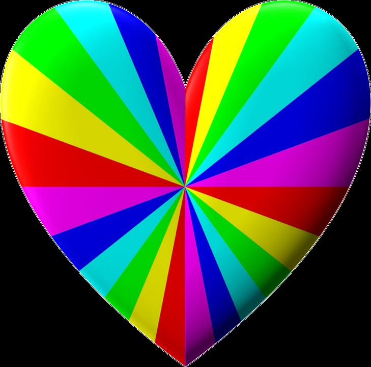 illustration gratuite valentin coeur arc en ciel