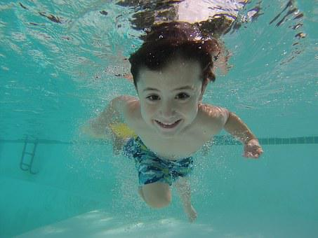 Kid Swimming Underwater Pool Swimming Swim