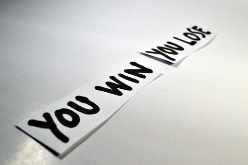 あなたが勝ちます, あなたは負けます, 勝利, 失う, 受賞, 反対, 反意語