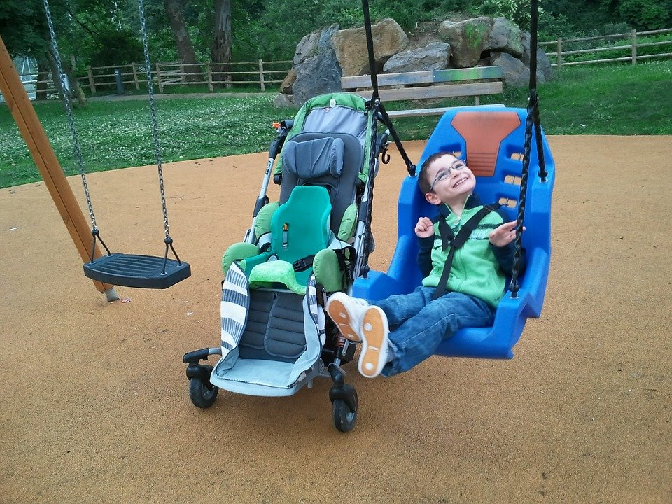 Child, Swing, Disability, Guy, Smiles