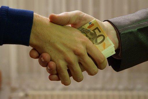 Euro, Bank Notes, Handshake, Transaction