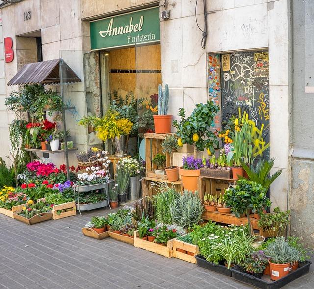 Free Photo: Barcelona, Spain, Flower Shop