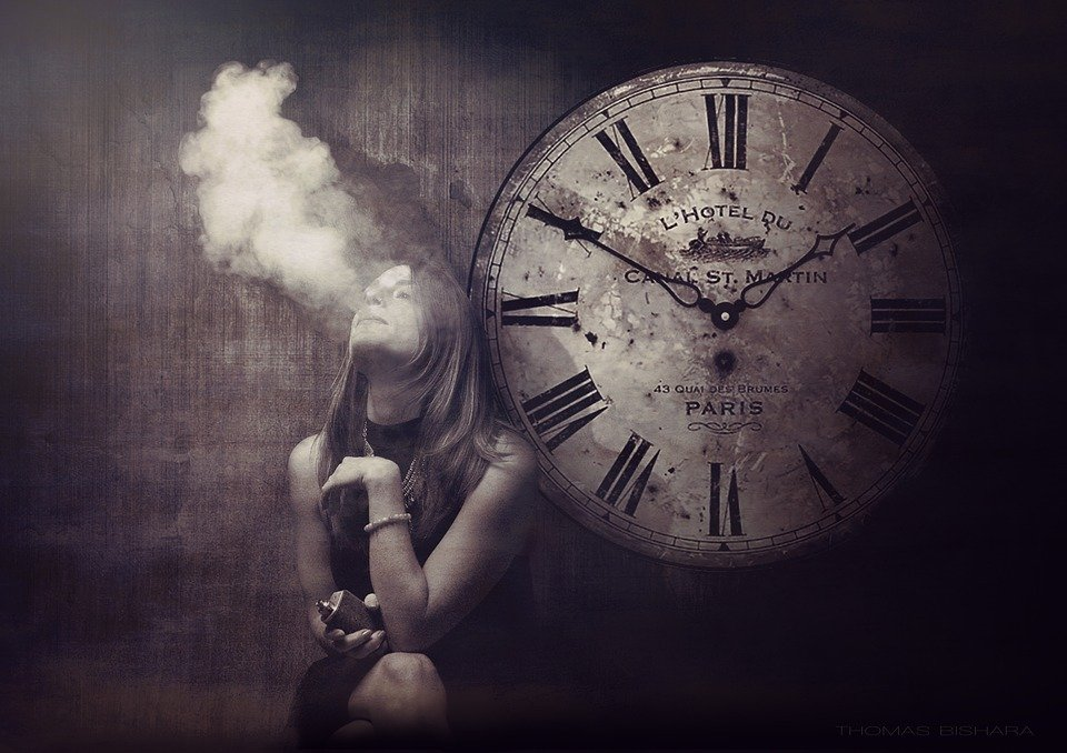 Vape, Female, Clock, Portrait, E-Cigarette