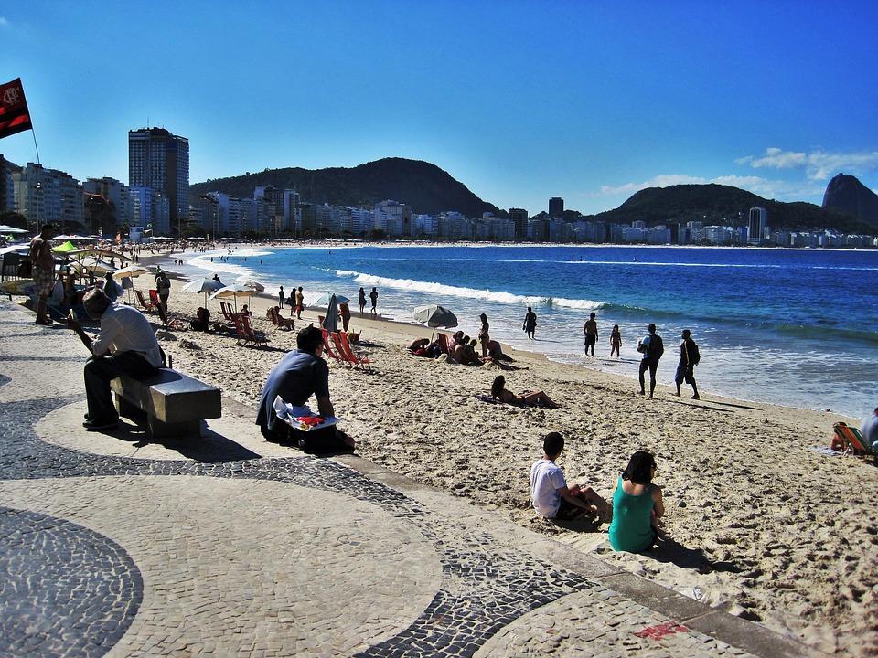 Rio, W Copacabana, Widok Na Sugar Loaf Mountain, Plaży