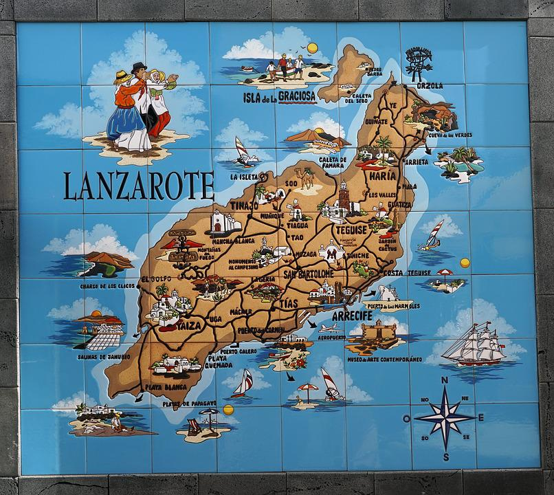 Carte Lanzarote.Carte Lanzarote Colore Iles Photo Gratuite Sur Pixabay