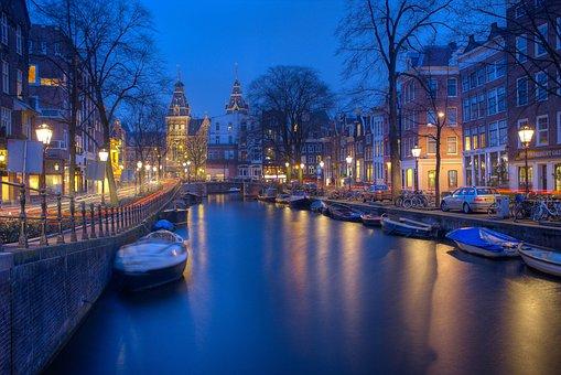 Amsterdam, Noc, Kanály, Večer, Tapeta