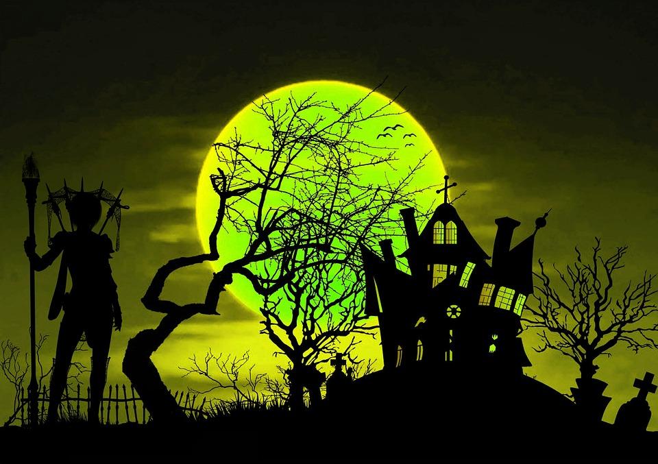 illustration gratuite halloween sorci re maison hant e. Black Bedroom Furniture Sets. Home Design Ideas