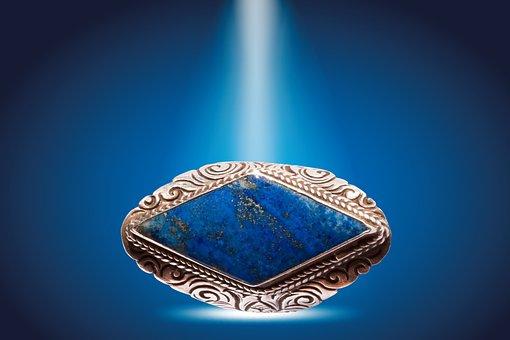 Anneau, Argent, Lapis Lazuli, Azurite