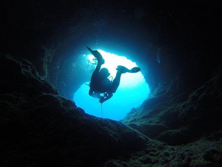 Cave, Diving, Palau, Pacific, Blue