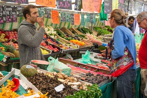 市場, 市場の露店, 売り手, 食品, 農民 ローカル市場, 新鮮