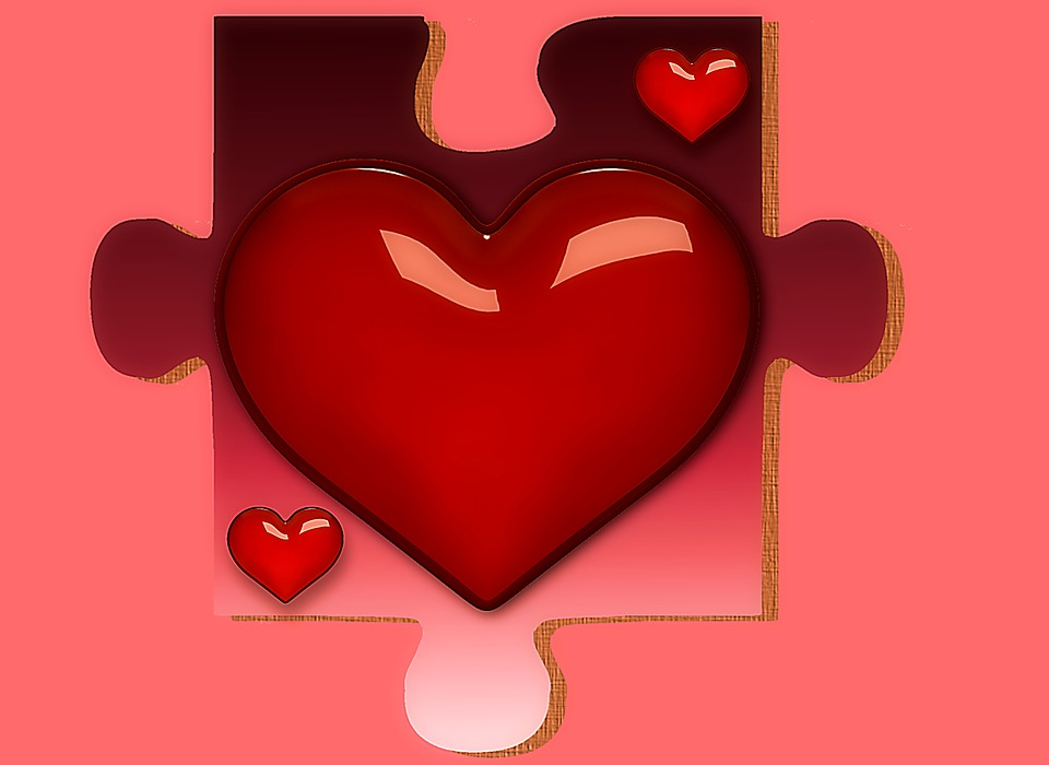 Puzzle Heart Red Piece Shape