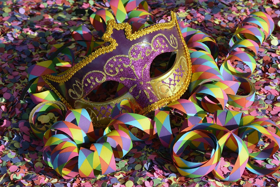 Masker, Carnaval, Confetti, Streamer, Kleurrijke