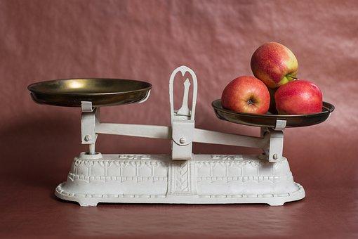 水平, アップル, 体重コントロール, 重量を量る, 栄養