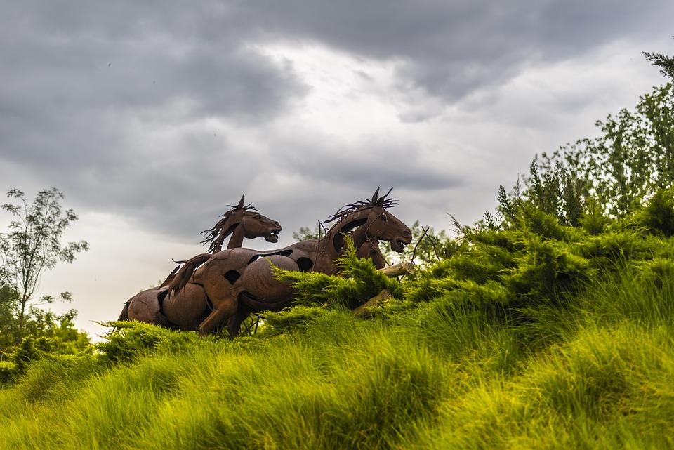 Skulptur Pferde Garten Kostenloses Foto Auf Pixabay
