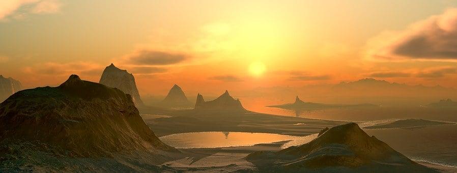 Montagnes, Lac, Mer, Coucher De Soleil