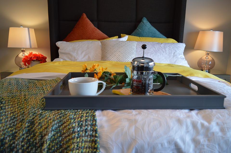 Ontbijt Op Bed, Bed, Slaapkamer, Lade, Koffie, Ontbijt