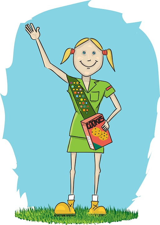 Girl Scout, Girl, Cookies, Grass, Badges, Kid, Drawing
