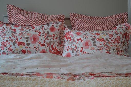 Подушки, Цветочный, Кровать, Спальня