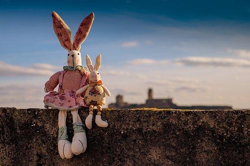 ウサギ, 動物, ペット, 子供のおもちゃ, テディ, 空