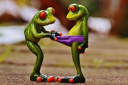 カエル, 好奇心が強い, おかしい, 数字, かわいい, パンツ, 見える