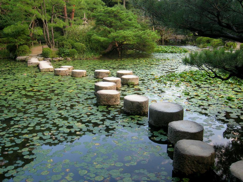 japanese garden kyoto japan koi pond