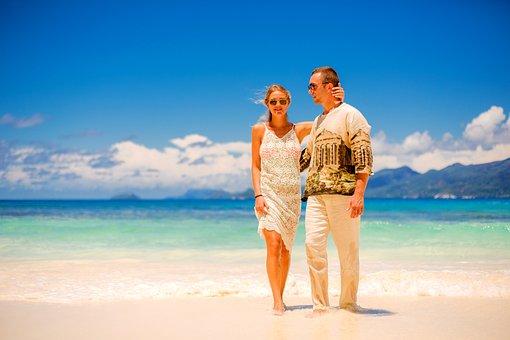 休暇, 空気, お気に入り, 性質上, カップル, 愛, 海, ビーチ