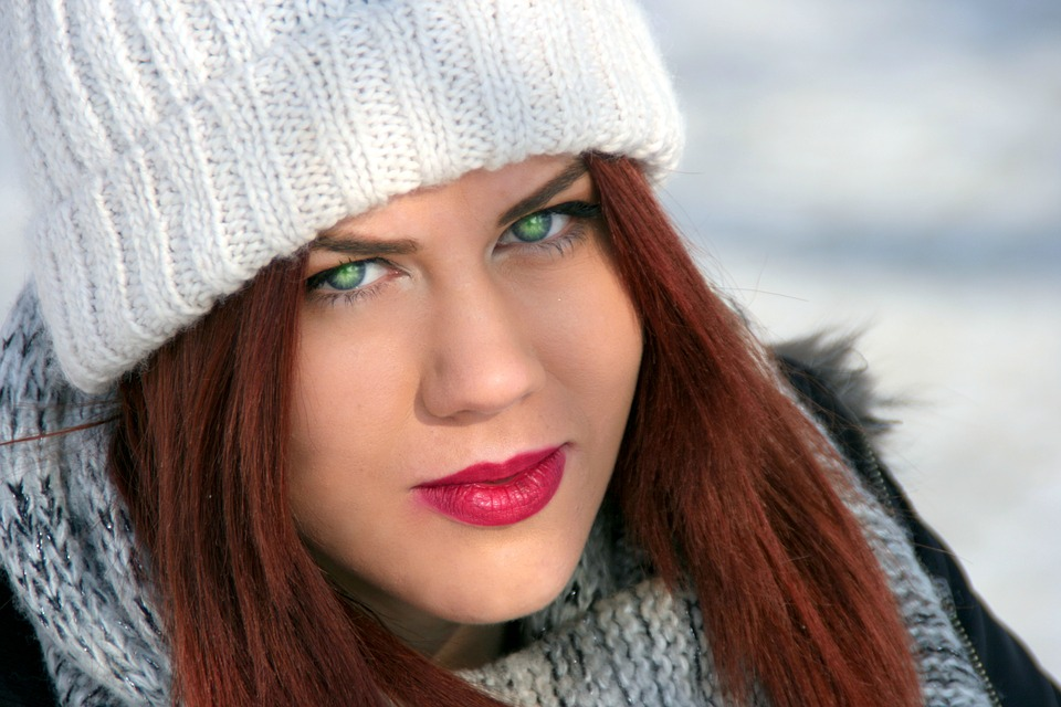 green eyes Redhead girl with
