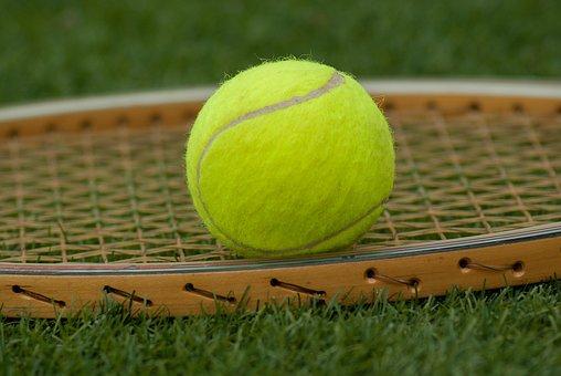 テニスボール, ラケット, テニス, スポーツ, グリーン
