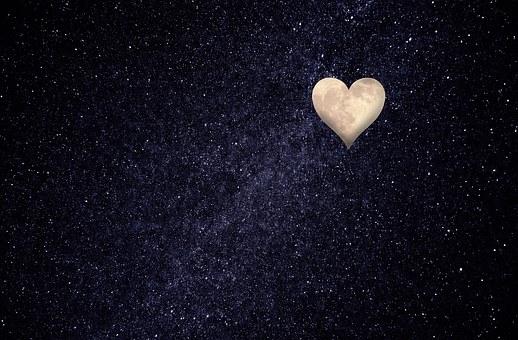 Herz, Mond, Nachthimmel, Liebe, Gedanken