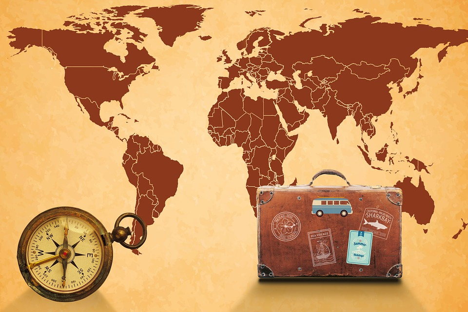 Map Of The World Compass Luggage - Free image on Pixabay