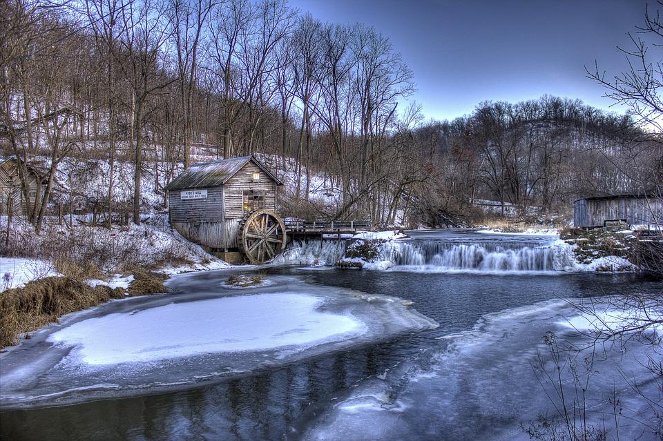 Vintern, Mill, Wisconsin, Hyde, Landskap Naturskön