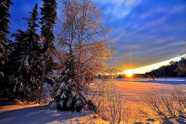 Winterlandschaft sonnenuntergang kostenloses foto auf for Immagini inverno sfondi