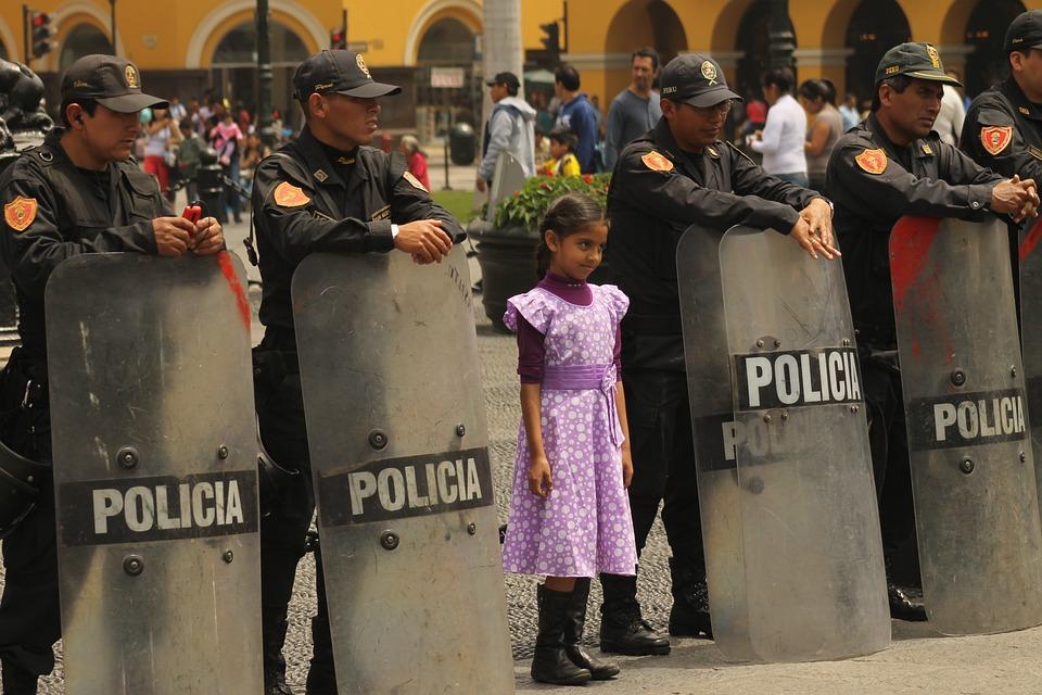 Polizia, Perù, Lima, Bambino, Ragazza, Plaza De Armas