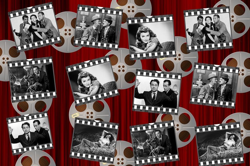 映画, 黒と白, 星, ホワイト, ブラック, 映画館, ビンテージ, 業界, リール, 女性, 大人