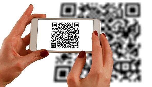 Hands, Smartphone, Barcodes, Qr