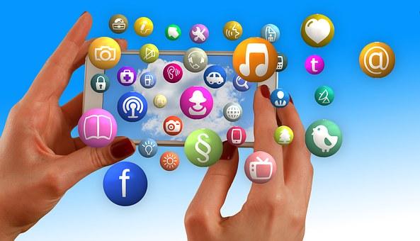 手, スマート フォン, 社会的なメディア, ソーシャル ネットワーク