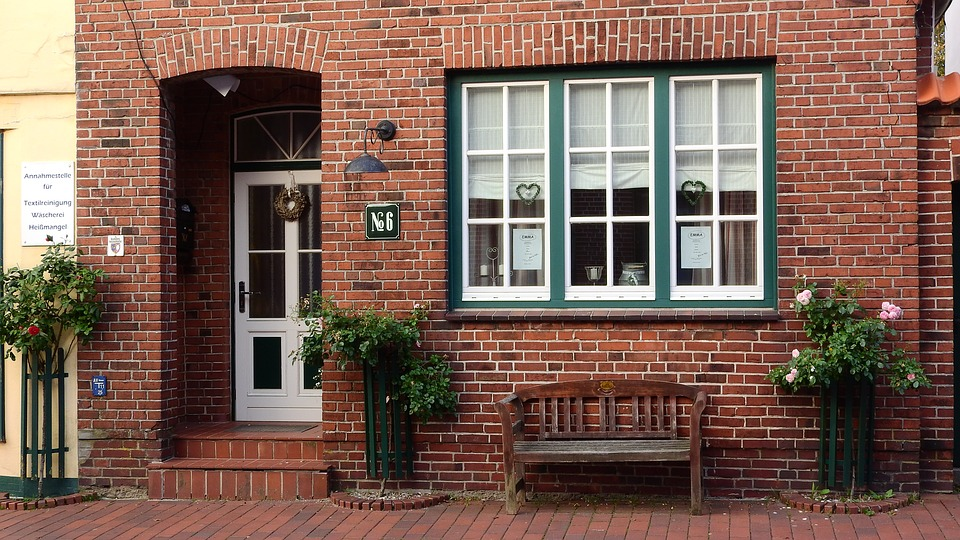 Free photo brick house window door bench free image for Brick house design blog