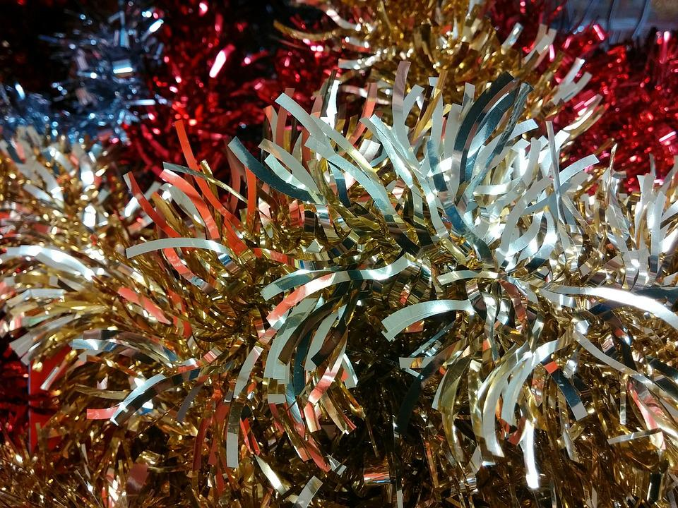 tinsel christmas decorations festive glittery xmas