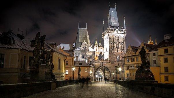 布拉格, 捷克共和国, 城市, 河, 城堡, 建筑, 桥, 查理大桥, 光