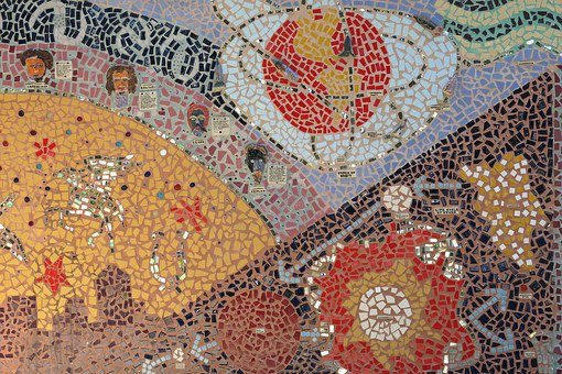 モザイク, タイル, 小学校, 壁, 壁画, アート, アウトドア, 太陽, 星