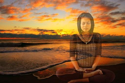 打坐, 日落, 冥想, 瑜伽, 自然, 和平, 健康, 演習, 冥想自然, 女子