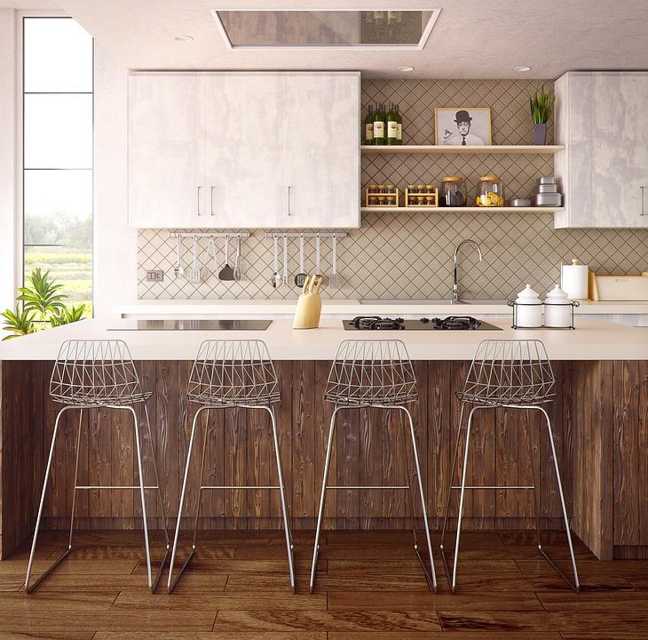 Архитектура, Интериор, Мебели, Кухня, 3D, Графики, Къща