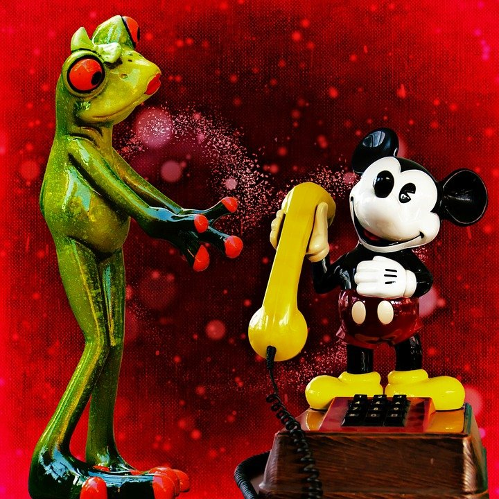 Frog Mickey Mouse Phone Communication Call